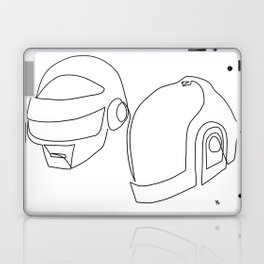 one line drawing black and white of daft punk Laptop & iPad Skin