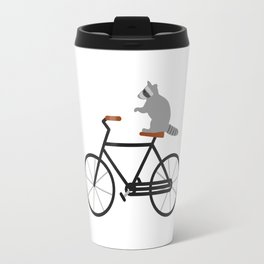 Raccoon Riding Bike Travel Mug