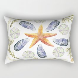 Tide Pool Beach Mandala 3 - Watercolor Rectangular Pillow