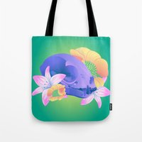 animal skull Tote Bags featuring Animal Skull and Flowers  by kellyhalloran
