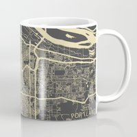portland Mugs featuring Portland Map by Map Map Maps