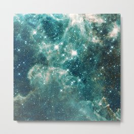 Teal Blue Galaxy Metal Print