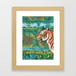Tiger Mosaic Framed Art Print