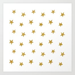 Merry christmas-Stars shining brightly-Gold glitter pattern Art Print