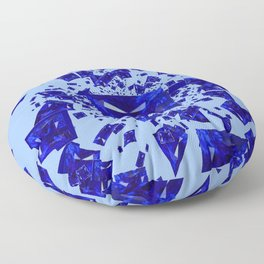 Blue Sapphire Gems Infusion Abstract Patterns Floor Pillow