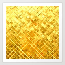 Give me Gold: festive, golden, fashionable, 3-d, glittery, Christmas, cheerful, lattice design Art Print
