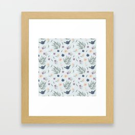 Blue florals Framed Art Print