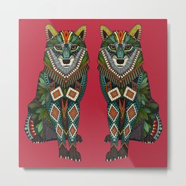 wolf red Metal Print