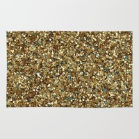 gold glitter Area & Throw Rugs featuring Gold Glitter by Katieb1013