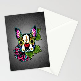 Boston Terrier in Black - Day of the Dead Sugar Skull Dog Stationery Cards