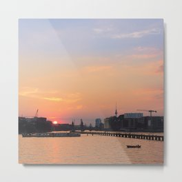 berlin kreuzberg -  skyline, sunset, river and boats Metal Print