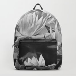 Water Lily in Black and White Backpack