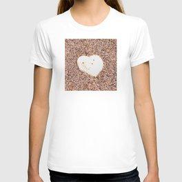 Heart-Shaped White Shell on Sandy Beach T-shirt