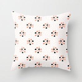 60s Style Geometric Polka Dot Circle Pattern, Seamless Vector Throw Pillow