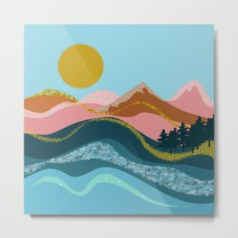 Landscape in blue tones, coral, caramel and gold Metal Print