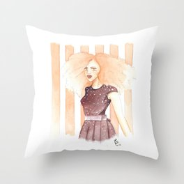 Coral Calliope Throw Pillow