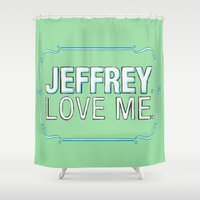 big lebowski Shower Curtains featuring BIG LEBOWSKI- Maude Lebowski - Jeffrey. Love me. by Michelle Eatough