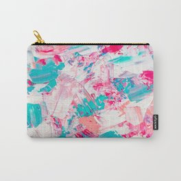 Modern bright candy pink turquoise pastel brushstrokes acrylic paint Carry-All Pouch
