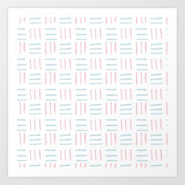 Modern hand painted blush pink teal brushstokes pattern Art Print