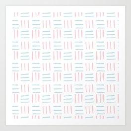Modern hand painted blush pink teal brushstokes pattern Art Print