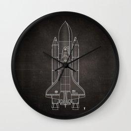 NASA Space Shuttle Blueprint in High Resolution (chalkboard black)  Wall Clock