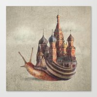 country Canvas Prints featuring The Snail's Daydream by Eric Fan