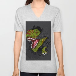 Agressive t rex. Unisex V-Neck