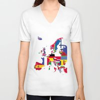 europe V-neck T-shirts featuring Europe flags by SebinLondon