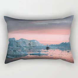 Boat in front of arctic icebergs during sunset Rectangular Pillow