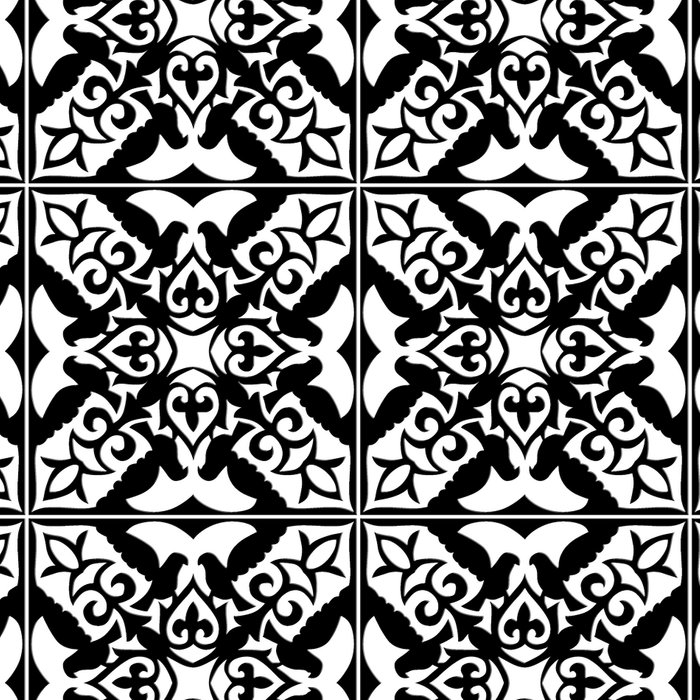 Moroccan Tile Pattern in Black and White Leggings
