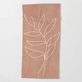 Engraved Leaf Line Beach Towel