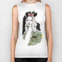 army Biker Tanks featuring Army Girl by Camis Gray