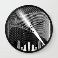 superheroes Wall Clocks featuring Superheroes SF by KEFLIONE
