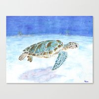 sea turtle Canvas Prints featuring Sea turtle by Savousepate