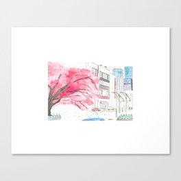 Tokyo Cherry Blossoms Watercolor Sketch - Ueno Park Canvas Print