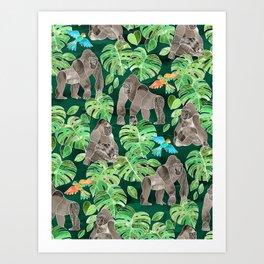 Gorillas in the Emerald Forest Art Print