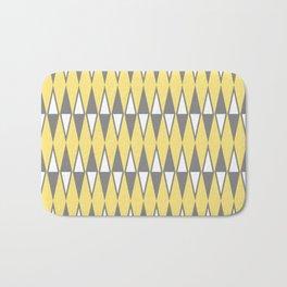 Mid Century Modern Diamond Pattern Yellow and Gray 232 Bath Mat