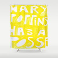 mary poppins Shower Curtains featuring Mary Poppins Has A Posse by John Weeden