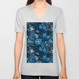 blue floral Unisex V-Neck