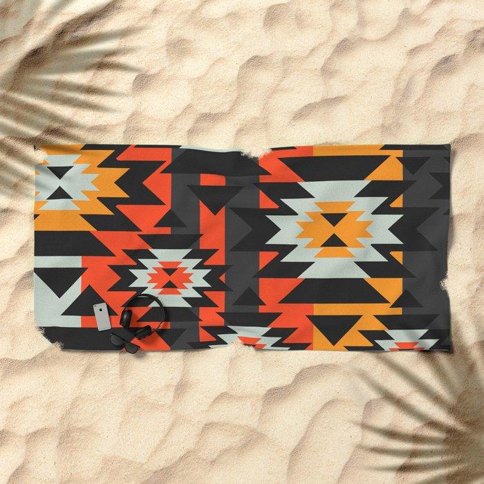 Aztec geometry Beach Towel