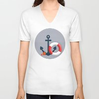 nautical V-neck T-shirts featuring Nautical  by Miracle