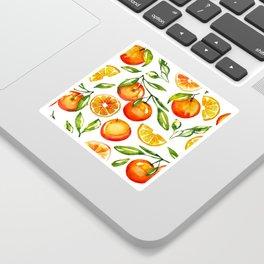 oranges watercolor tangerine fruit print Sticker