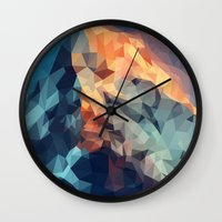 low poly Wall Clocks featuring Mountain low poly by Li9z