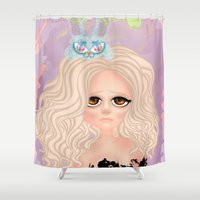 anxiety Shower Curtains featuring Anxiety by Victoria Rosas