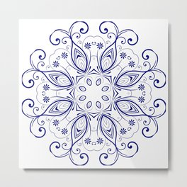 the abstract design of a circular pattern. Round Mandala. Metal Print