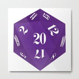 Purple 20-Sided Dice Metal Print
