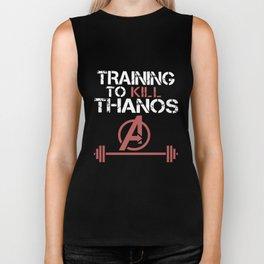 training to kill thanos gym t-shirts Biker Tank