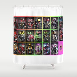 Kamen Rider Heisei Era Main Riders 20th Anniversary Shower Curtain