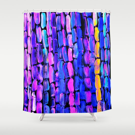 Yellow Sugarcane On Pink And Blue Shower Curtain By