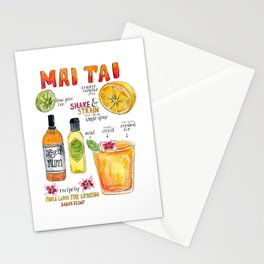 Mai Tai Illustrated Cocktail Recipe Stationery Cards